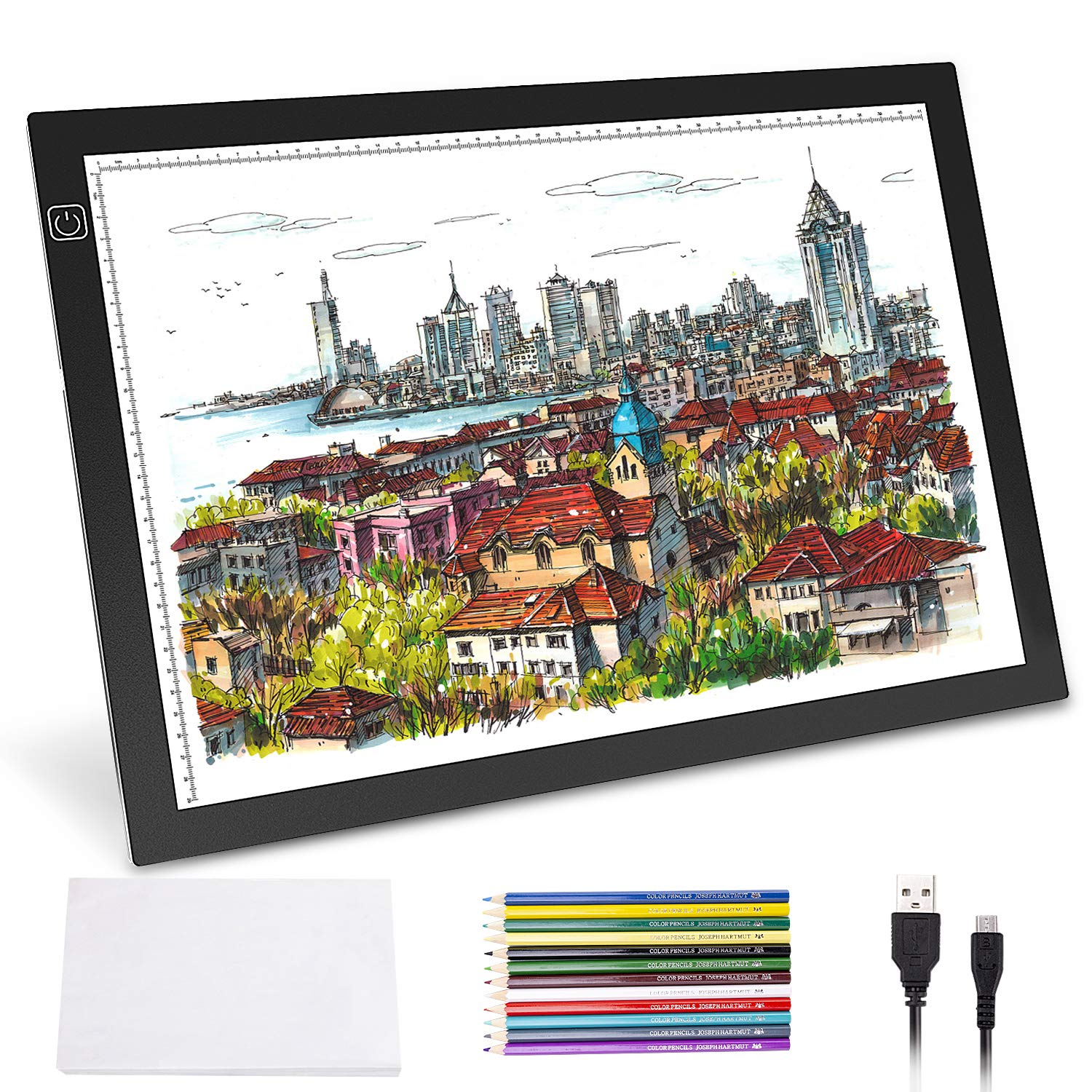 A3 Light Pad, Norbase Ultra-Thin Portable Tracing LED Copy Board Table, Adjustable USB Power Light Box Tracer for Drawing, Sketching, Animation, Stenciling, Calligraphy with 12 Color Pencils by Norbase