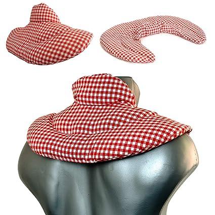Saco cervical térmico con cuello. rojo-blanco. Almohada ...
