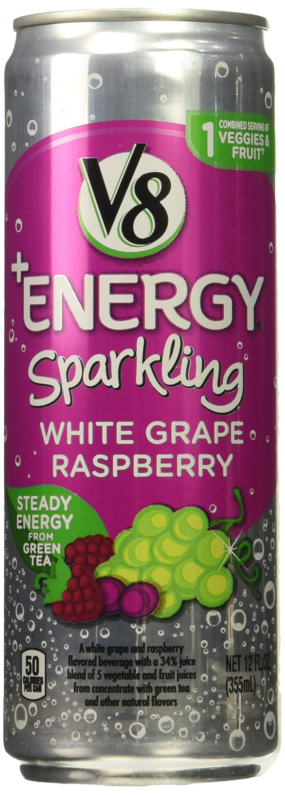 V8 +Energy, Sparkling Juice Drink with Green Tea, White Grape Raspberry, 12 oz. Can (Pack of 12)