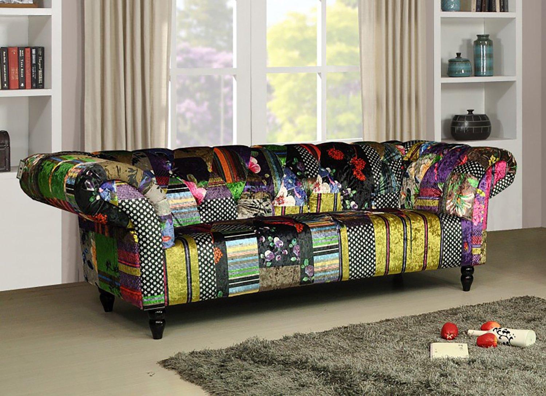 Awe Inspiring Lovesofas Anna Scroll Chesterfield 3 Seater Fabric Patchwork Sofa Home Interior And Landscaping Sapresignezvosmurscom