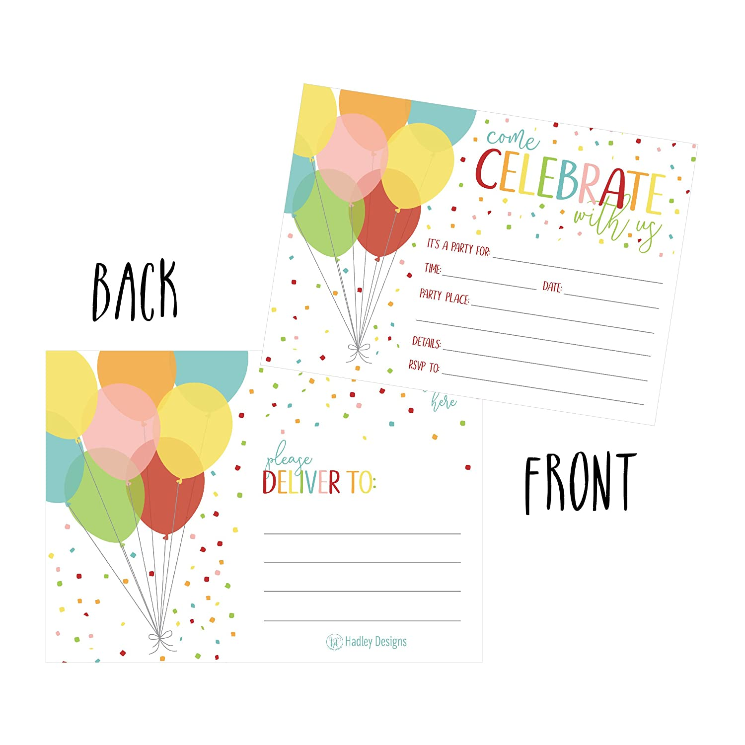 25 Rainbow Balloon Party Invitations For Kids Teens Adults Boys Girls Blank Children Happy 1st Birthday Invitation Cards Unique Baby First Bday