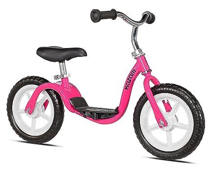 side facing pink kazam v2e balance bike