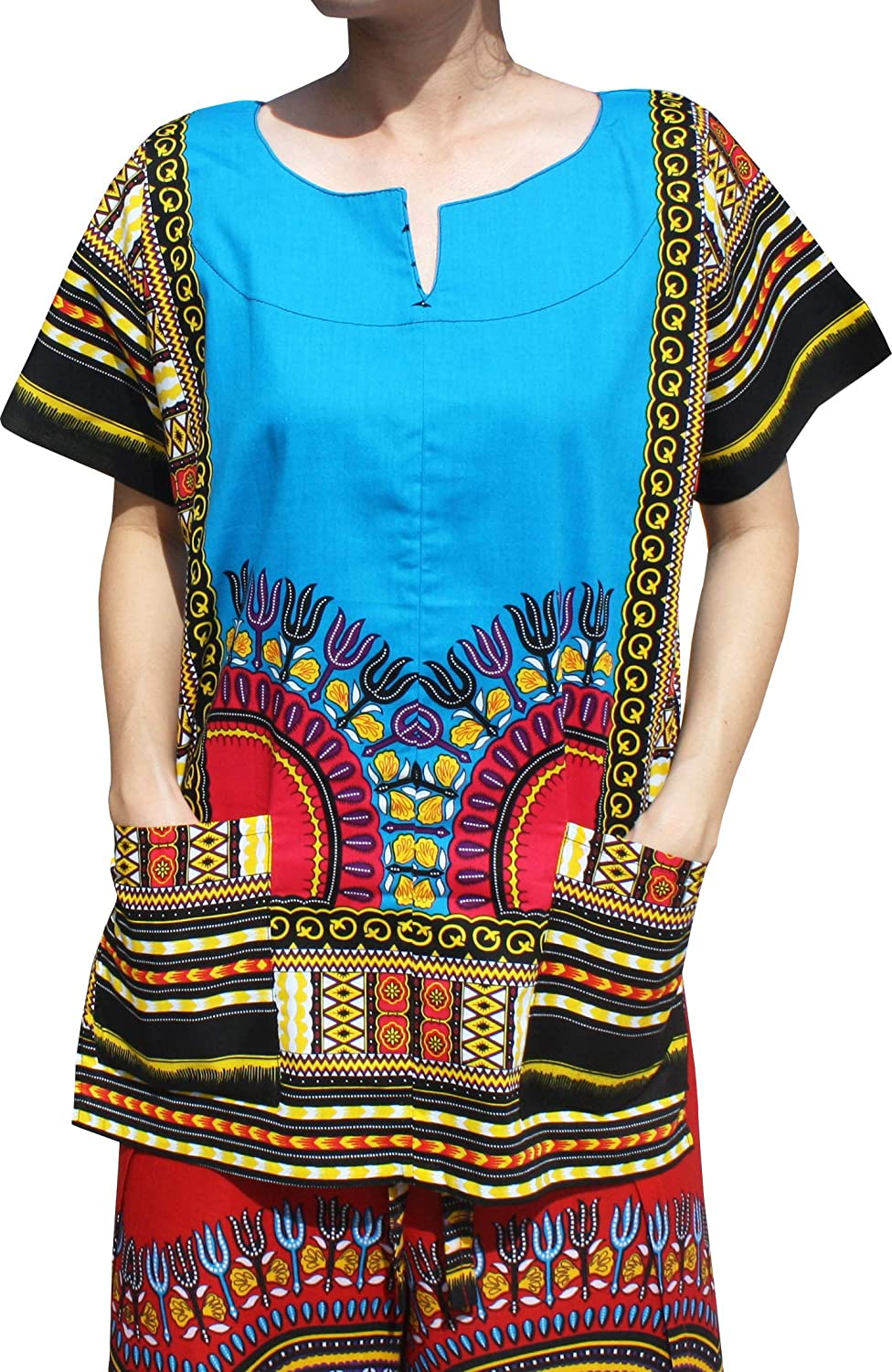 Bright Navy bluee RaanPahMuang Front Split African Dashiki Traditional Cotton Shirt Two Pockets