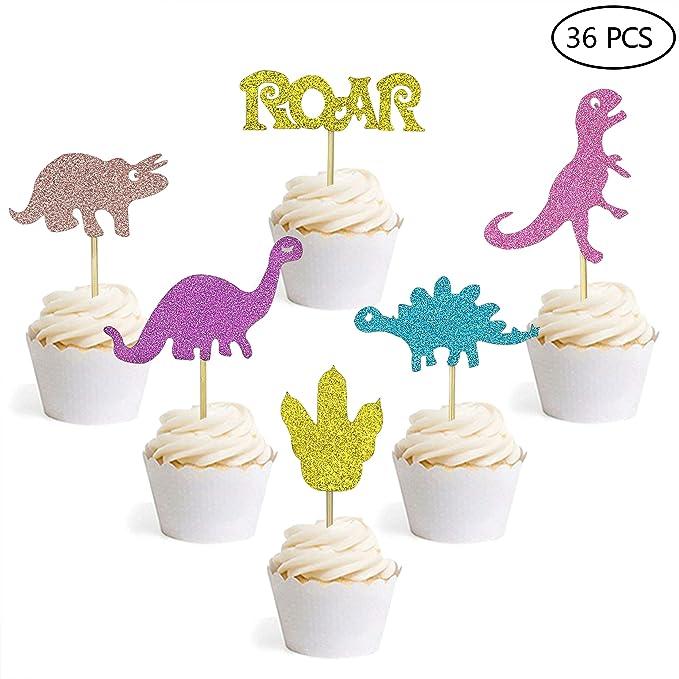 Adornos para cupcakes de dinosaurio con purpurina para ...