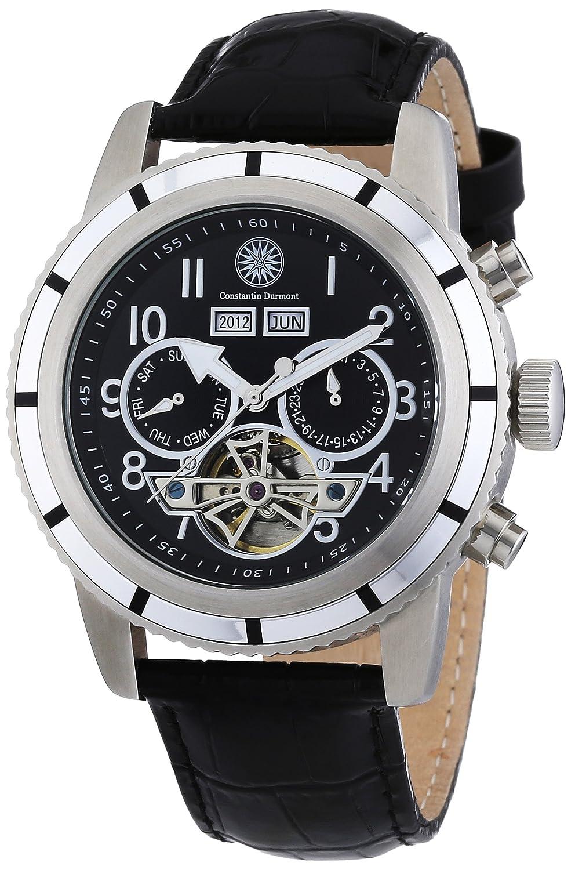 Constantin Durmont CD-PUEB-AT-LT-STSL-BK - Reloj analógico automático para hombre con correa de piel, color negro