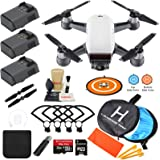 DJI Spark Drone Quadcopter (Alpine White) with 3 Batteries, Camera Gimbal Bundle Kit with MUST HAVE Accessories