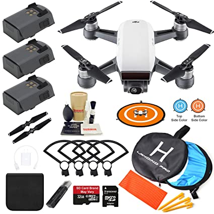 DJI Spark Drone Quadcopter Alpine White With 3 Batteries Camera Gimbal Bundle Kit