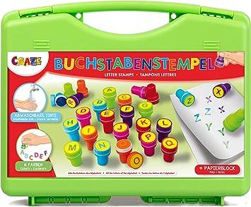 CRAZE- Estuche de estampillas Stamp Box 26 niños Letras Set de Sellos Incl. Bloque de Papel en una Caja-Tinta Lavable 17753, Multicolor: Amazon.es: Juguetes y juegos