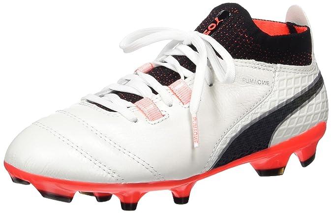 Puma One 17.3 AG Jr, Chaussures de Football Mixte Enfant, Blanc (White-Black-Fiery Coral), 38 EU