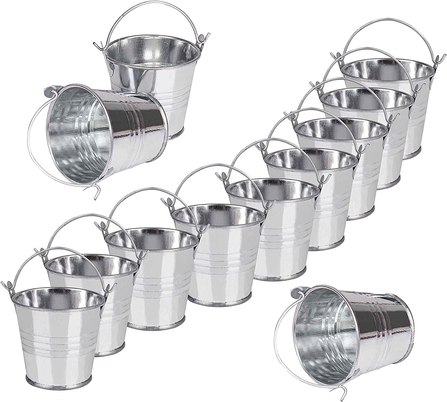Mini Metal Buckets Tin Pails Galvanized Tinplate Container 3 for Gardening Plants Home Party Decoration 12Pack
