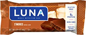 LUNA BAR - Gluten Free Bars - S'mores Flavor - (1.69 Ounce Snack Bars, 15 Count)