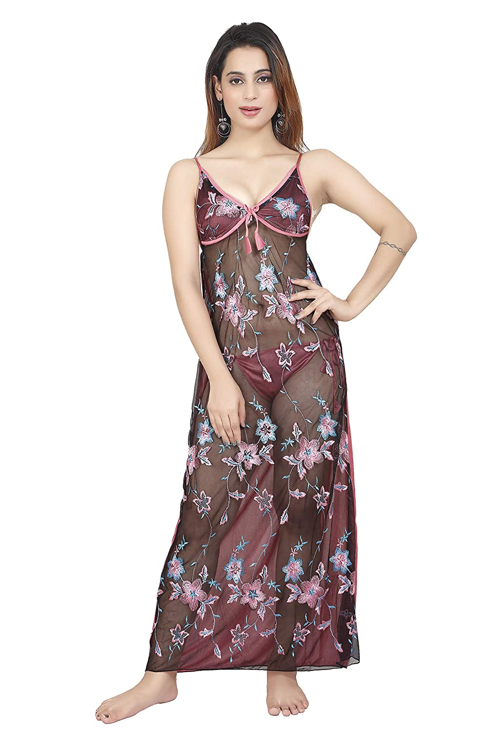 e154e92d08559 Bailey Women's Satin Transparent Nightwear (BAILEY1268 _Pink_ Free Size):  Amazon.in: Clothing & Accessories