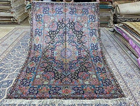 Alfombra de Seda Persa 5 x 7,5 Azul Anudada a Mano turca para ...