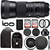 Sigma 150-600mm 5-6.3 Contemporary DG OS HSM Lens for Canon DSLR Cameras with Sigma USB Dock and Two 64GB SD Card Bundle…