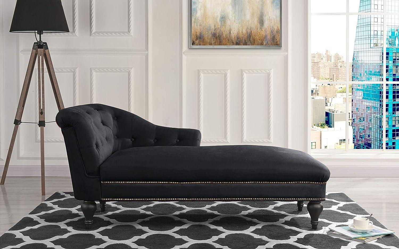 Chaise Lounge Indoor Chair Tufted Velvet Fabric, Modern Long Lounger for Office or Living Room (Black)