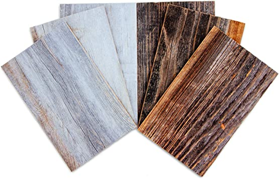Sample Pack, Natural//Silver Weekend Walls DIY Easy Peel and Stick Wood Wall Paneling Reclaimed Weathered Redwood