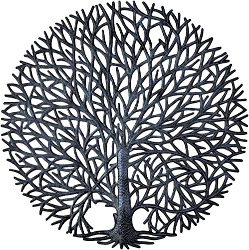 It s Cactus Haitian Tree of Life Wall Plaque, Decorative Kitchen Metal Tree, Wall Hanging Art, Indoor or Outdoor Decor, Handmade in Haiti, NO Machines Used, 24 in. x 24 in. Tranquility Tree