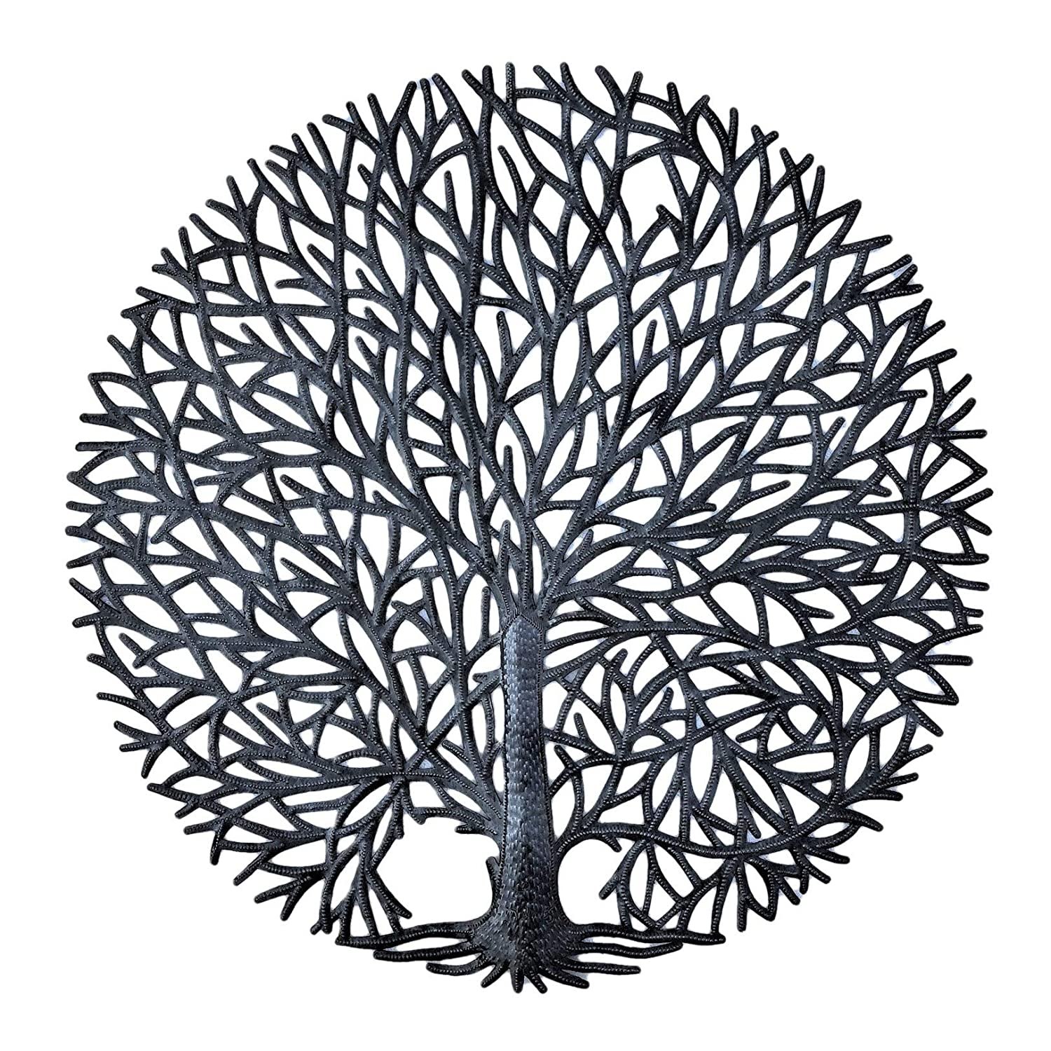 "Tree of Life Wall Art, Tranquility Nature Inspired Tree, Handmade in Haiti, Fair Trade, Decorative Wall Hanging Indoor or Outdoor 23"" Round"