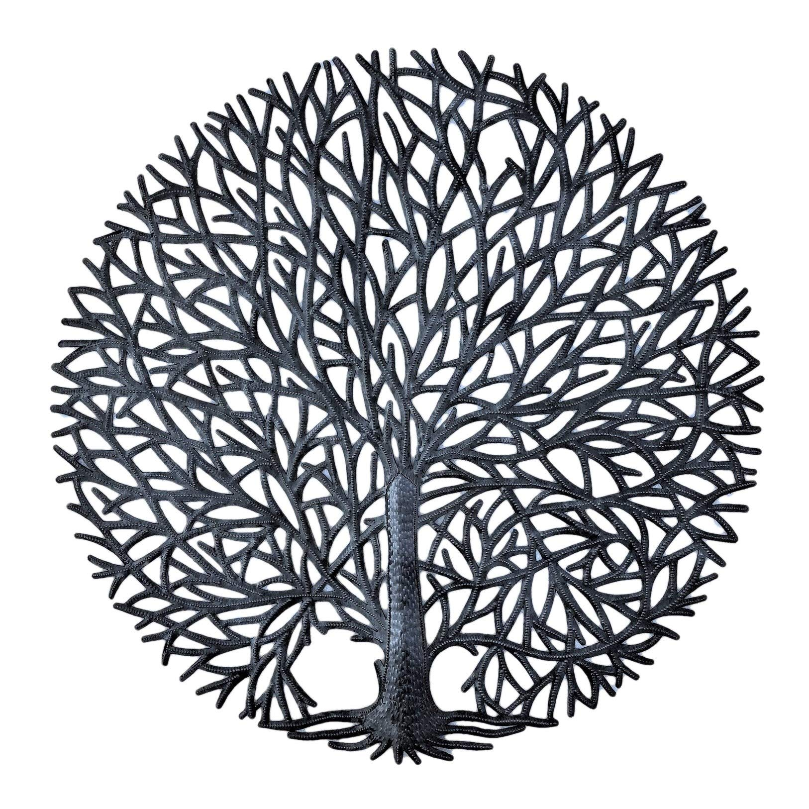 Haitian Tree of Life Wall Plaque, Decorative Kitchen Metal Tree, Wall Hanging Art, Indoor or Outdoor Decor, Handmade in Haiti, NO Machines Used, 24 in. x 24 in. (Tranquility Tree)