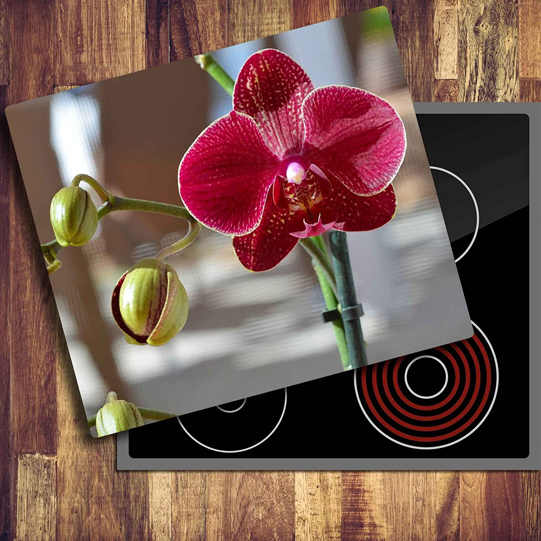 Ceranfeldabdeckung Herdabdeckplatten Rot 2x30x52 cm Spritzschutz Glas Herdschutz