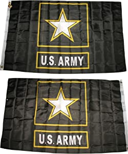 3x5 U.S. Army Star Black Gold Flag Double Sided Nylon Flag 3'x5' House Banner Grommets Fade Resistant Premium Quality