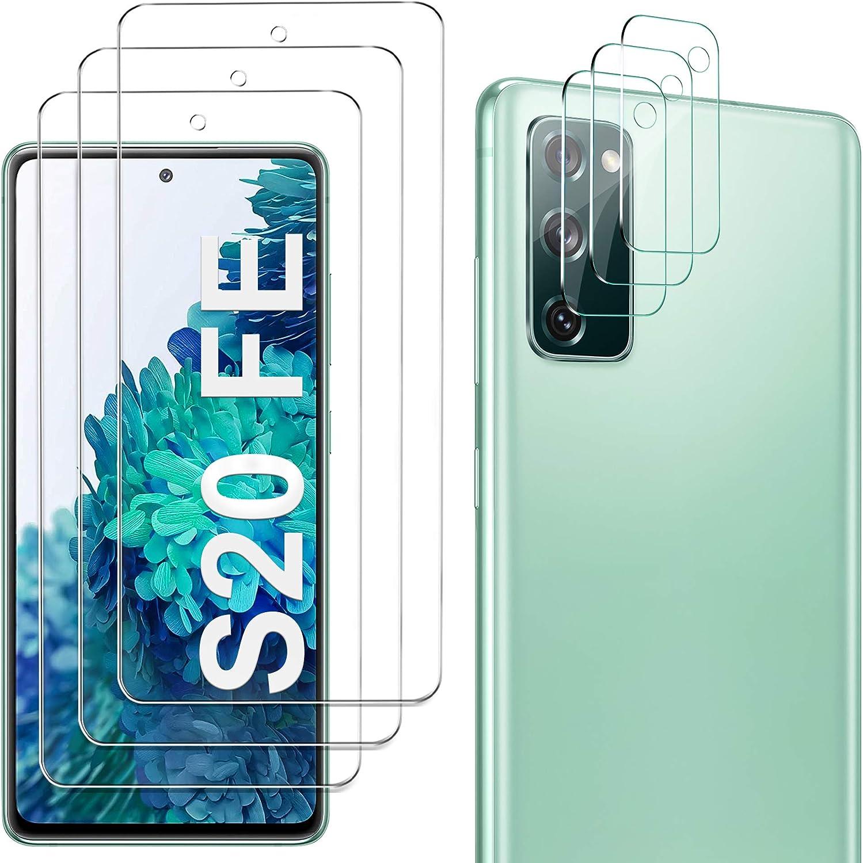GESMA 3 Piezas Protector de Pantalla Compatible con Samsung Galaxy S20 FE, 3 Piezas Protector de Lente de Cámara Compatible con Samsung Galaxy S20 FE, Cristal Templado de HD Anti-arañazos, 4G/5G