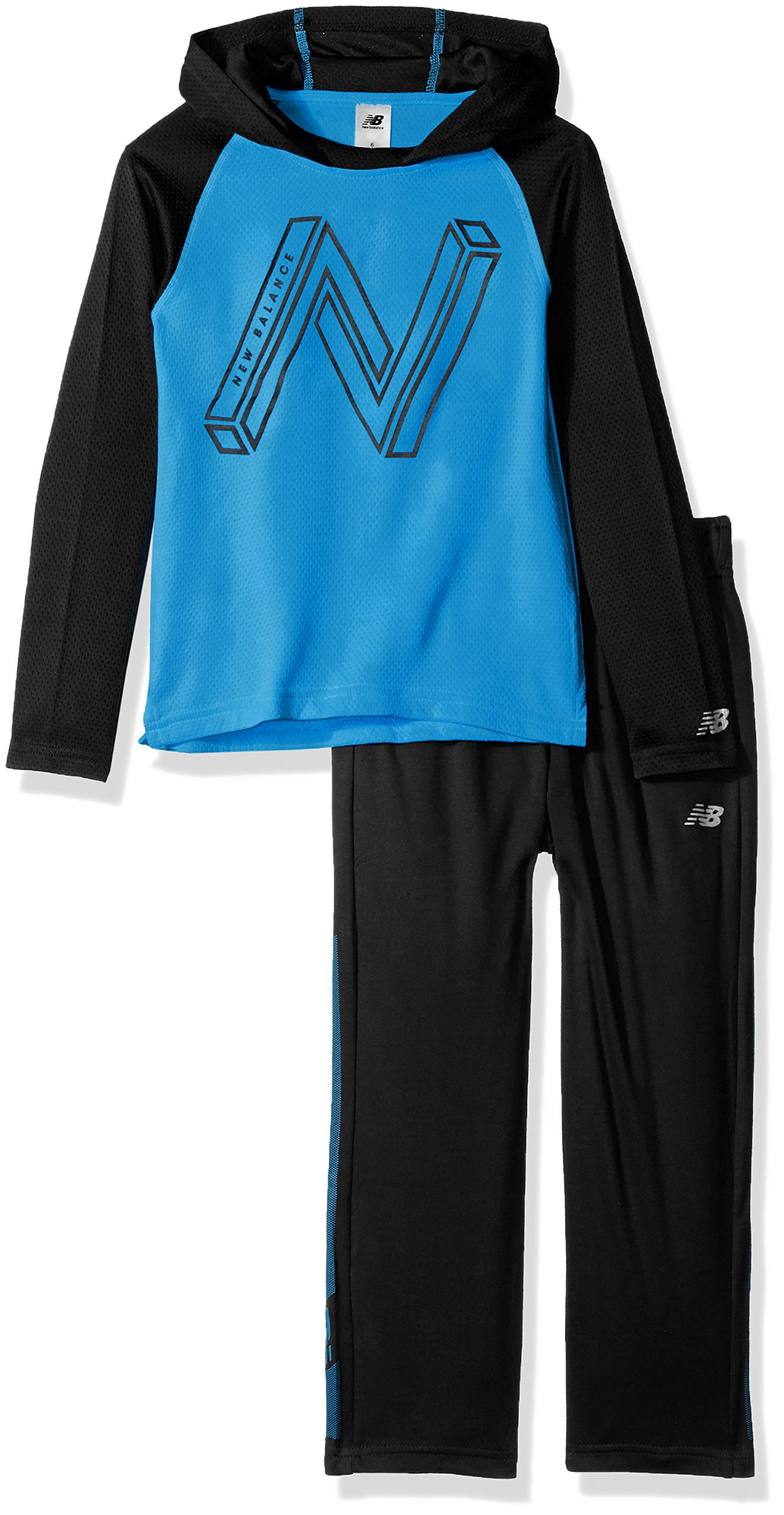 New Balance Boys' Toddler Long Sleeve Hooded Top and Pant Set, Bolt/Black, 4T