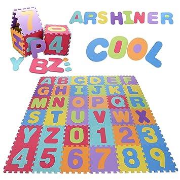 Arshiner Alfombra Infantil de Puzzle Goma EVA 36 Piezas Desmontables Manta de Puzzle de Espuma Gigante de Suelo Alfabeto y Números para Niños: Amazon.es: ...