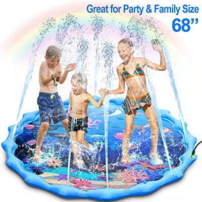 "Sprinkler and Splash Pad, Large 68"" Inflatable Sprinkler Pad Wading Pool, Outdoor Ocean Life Splash Play Mat Water Toy for 1-12 Years Old Toddlers Kids: Toys & Games"