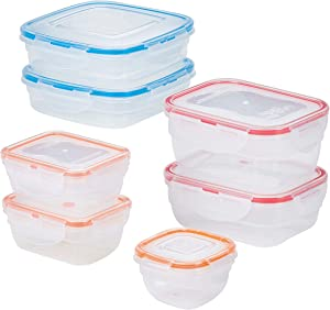 LOCK & LOCK Easy Essentials Color Mates Food Storage lids/Airtight containers, BPA Free, 14 Piece, Clear