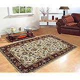Naz Carpet Woolen Handwoven Carpet for Living Room (240X305 cm, Ivory and Maroon)