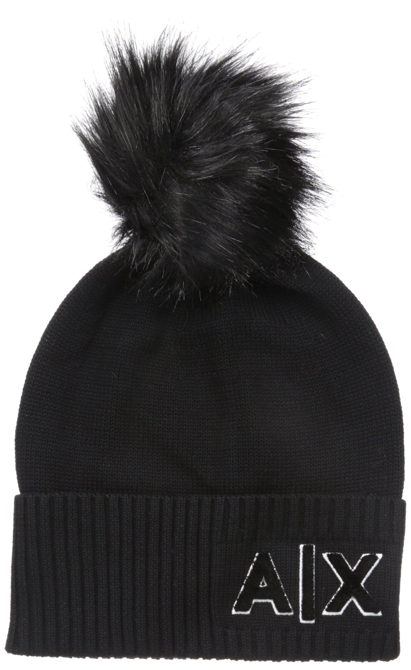 A|X Armani Exchange Women's High Rib Logo Hat, Black, One Size