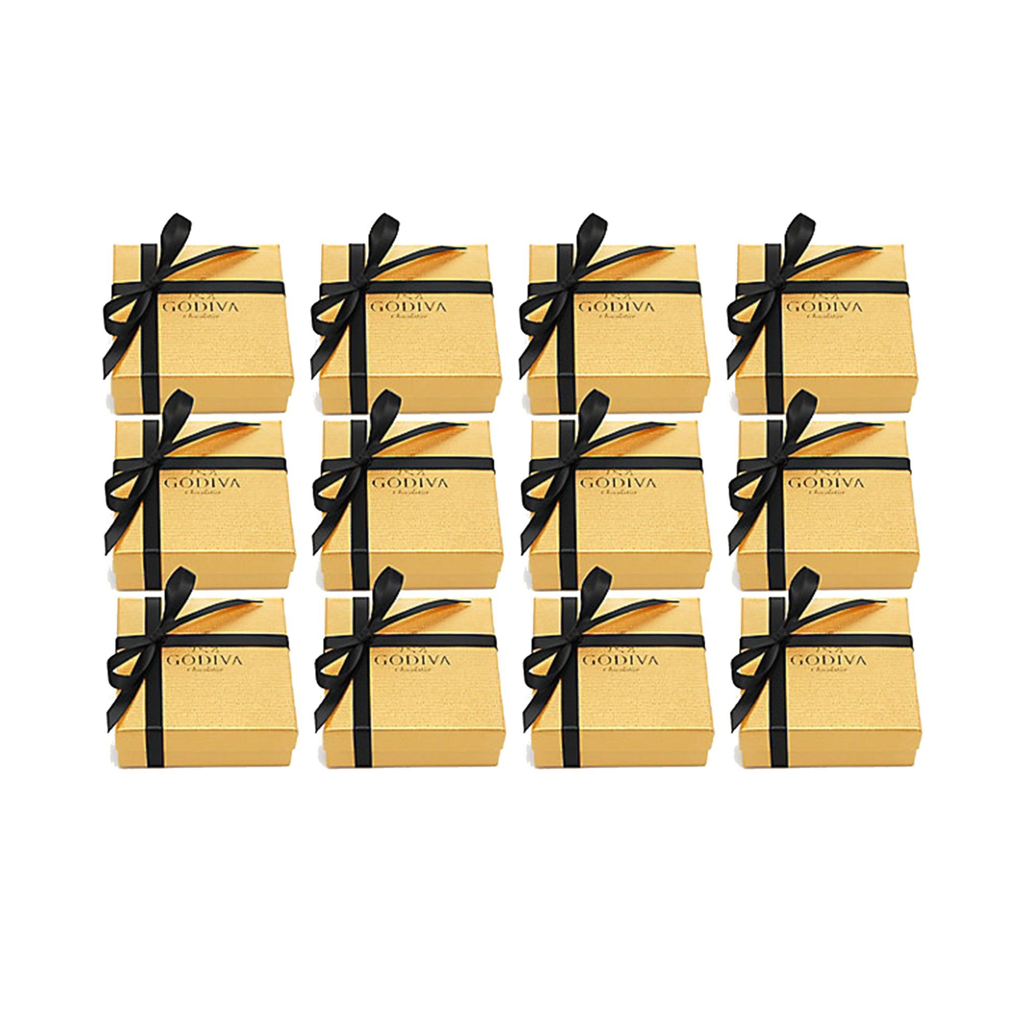 Godiva Chocolatier Chocolate Gold Favor, 4 Piece Gift Box, Black Ribbon, Assorted, Great for Stocking Stuffers, Set of 12