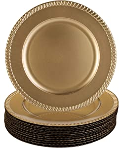 Suwimut 12 Pack Gold Plastic Beaded Charger Plates, 13 Inches Round Dinner Charger Plates for Wedding Party Decoration