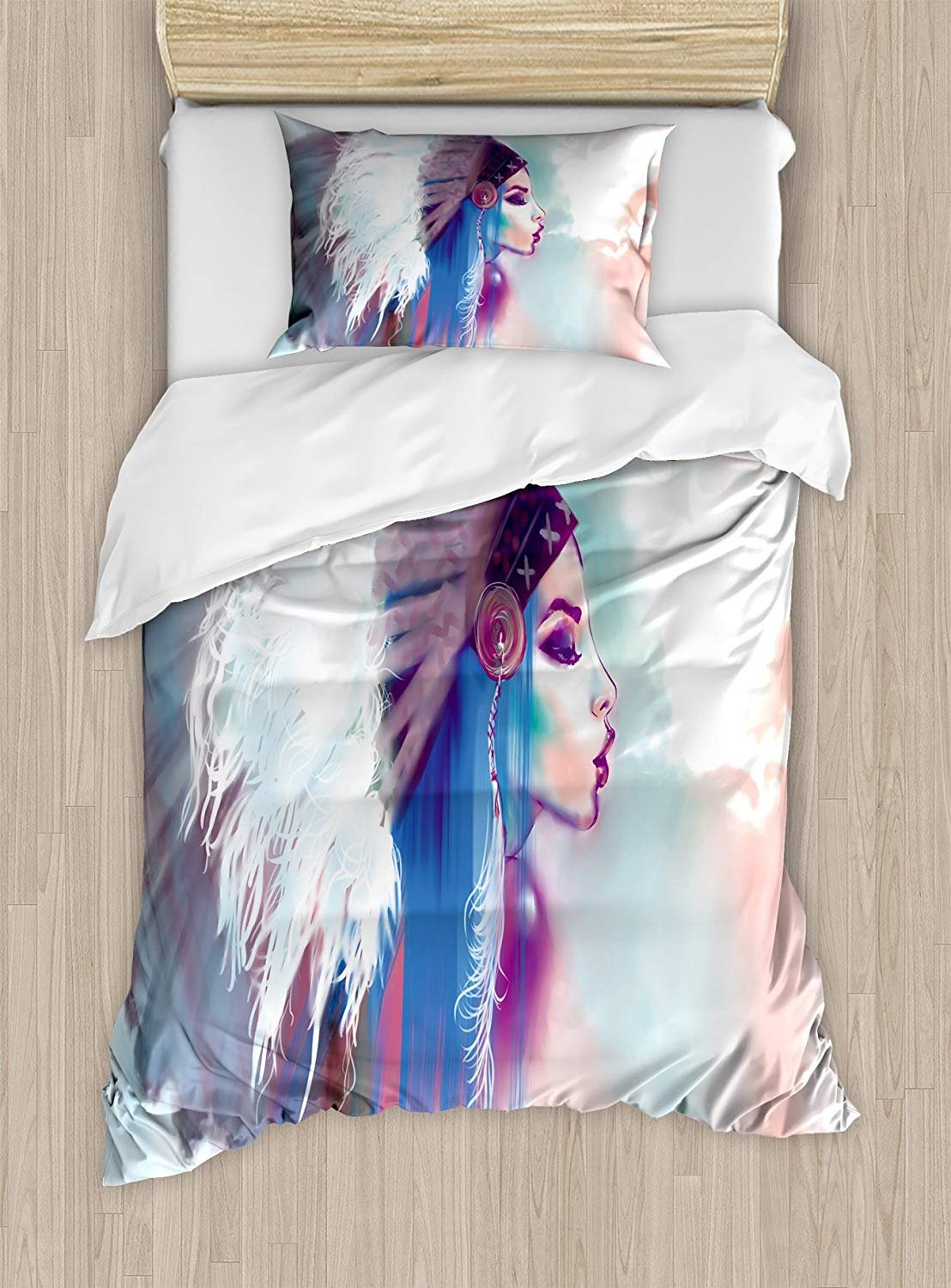 Twin XL Extra Long Bedding Set,Native American Duvet Cover Set,Girl Smoking Pipe with Traditional Clothes Abstract Watercolor Background,Cosy House Collection 4 Piece Bedding Sets