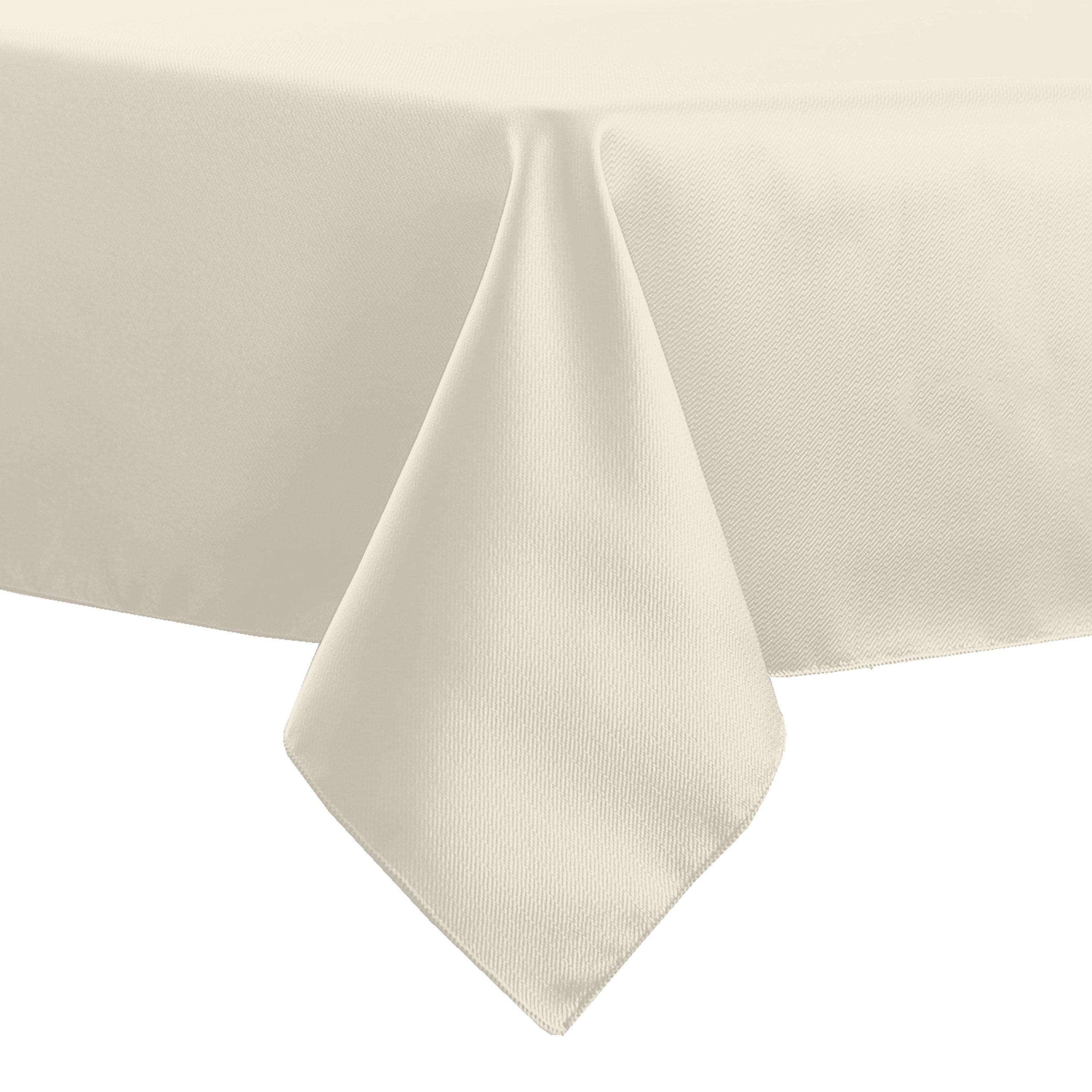 Ultimate Textile (10 Pack) Herringbone - Fandango 58-Inch Square Tablecloth, Ivory Cream