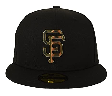 New Era 59FIFTY San Francisco Giants Metal Logo Fitted Cap Black Gold 7 3  f878ab14914