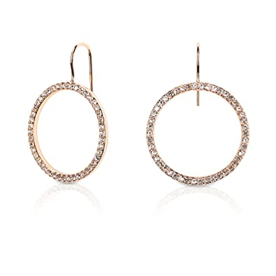 49868256f Amazon.com: Kate Spade New York Rose Gold Plated Hoop Earrings With Clear  Studs: Jewelry