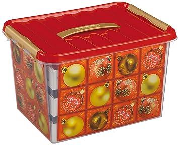boite de rangement boules de noel SUNWARE q line box   22 litres avec décoration boules de noël pour  boite de rangement boules de noel