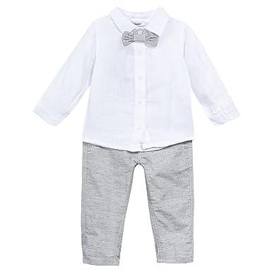 163f75564b4c2 3POMMES Chemise et pantalon en lin garçon Blanc (Blanc (Blanc)) 9-12 ...
