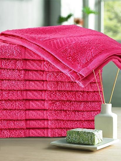 Trident 400 GSM 10 Pcs Face Cotton 30 x 30 cm Towel Set Hot Pink