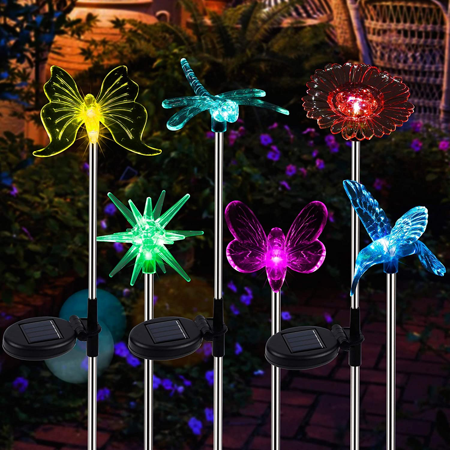 MAGGIFT 6 Pack Outdoor Solar Figurine Lights, Solar Powered Garden Stake Light, Color Changing LED Landscape Lighting, Sparkling Star Flower Hummingbird Butterfly Dragonfly Bee for Patio Yard Pathway