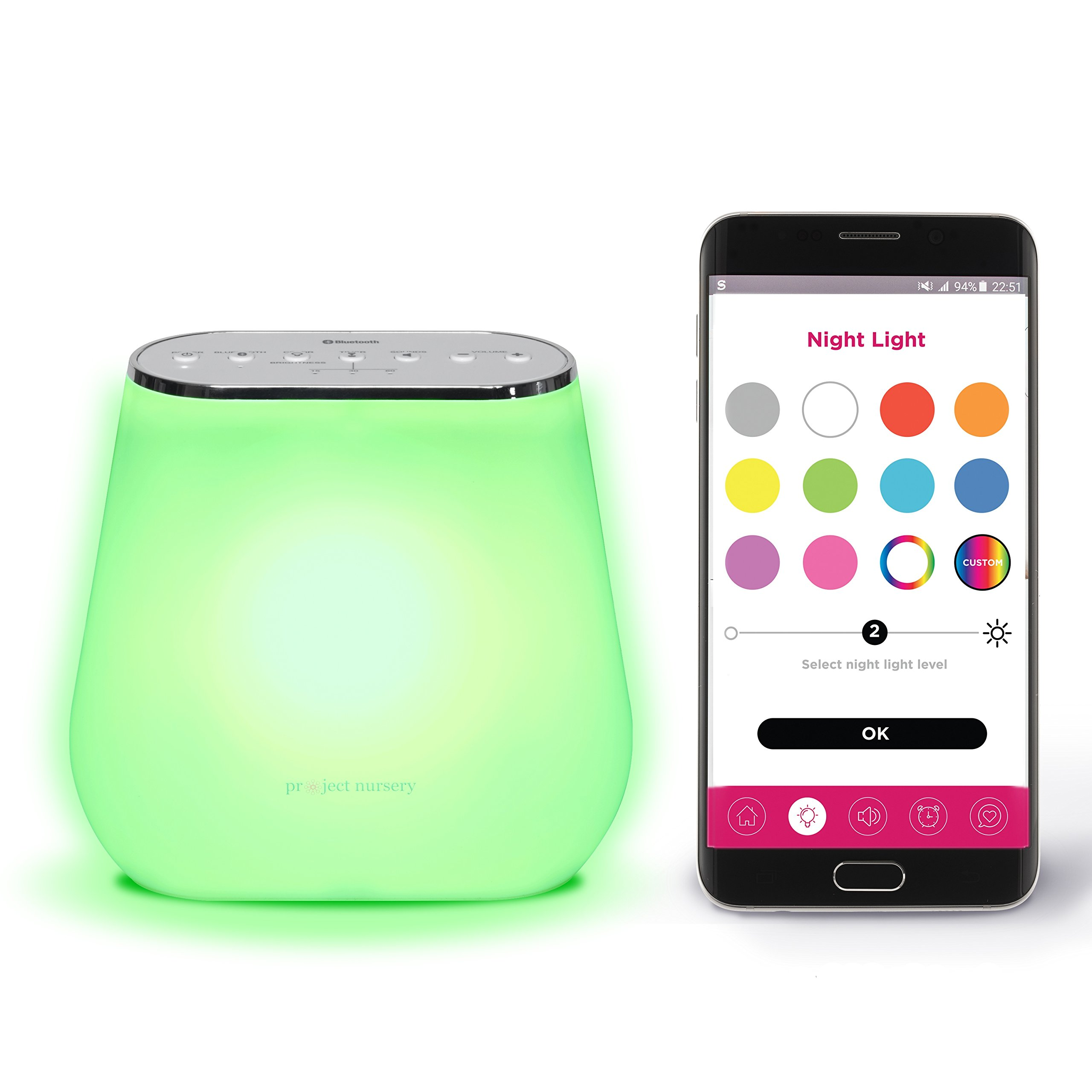 Alexa Enabled Smart Sound Soother with Multi-Color Night Light for Children and Ok-to-Wake Feature, by Project Nursery