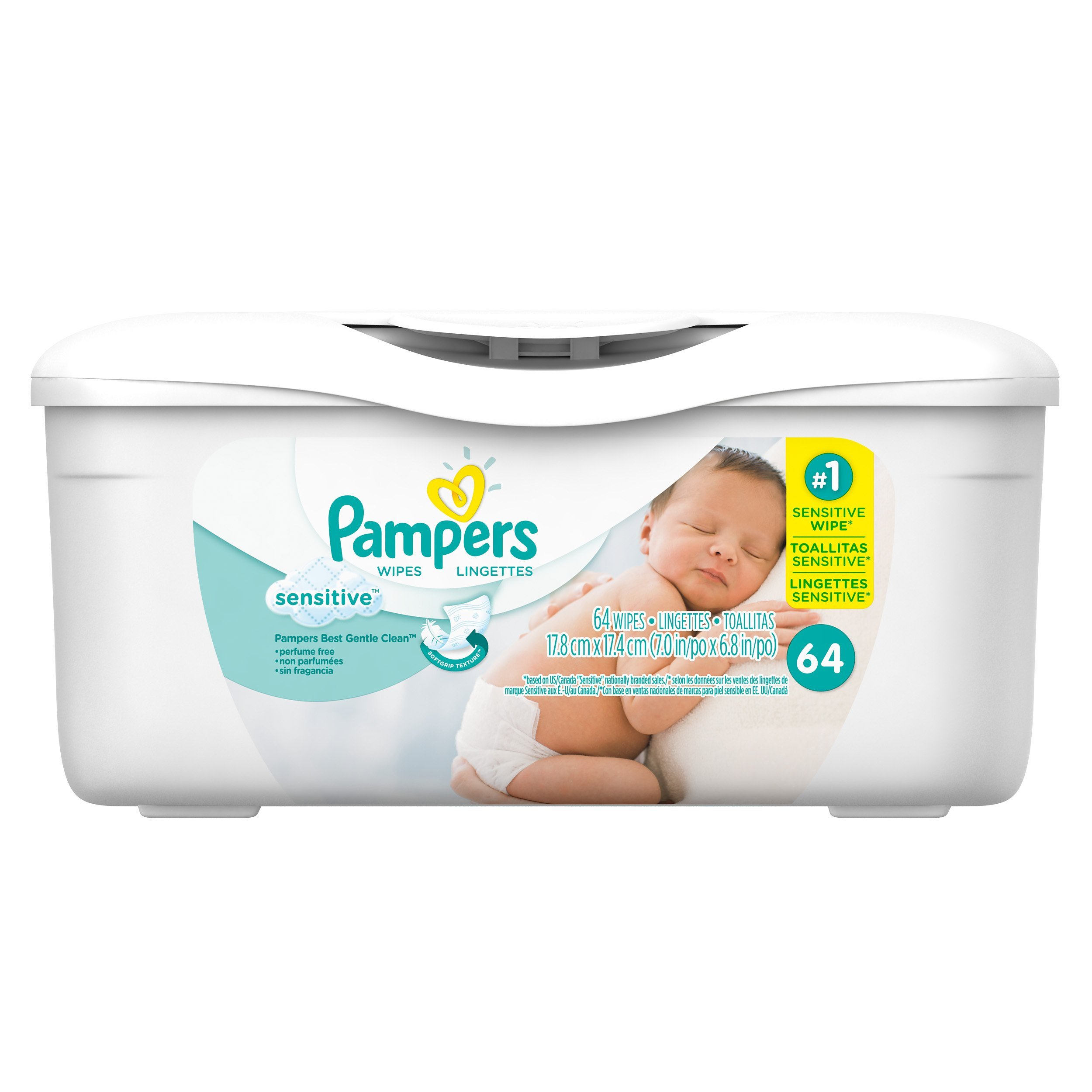 Pampers Sensitive Water Baby Wipes Tub, 64 Count, Pack of 8