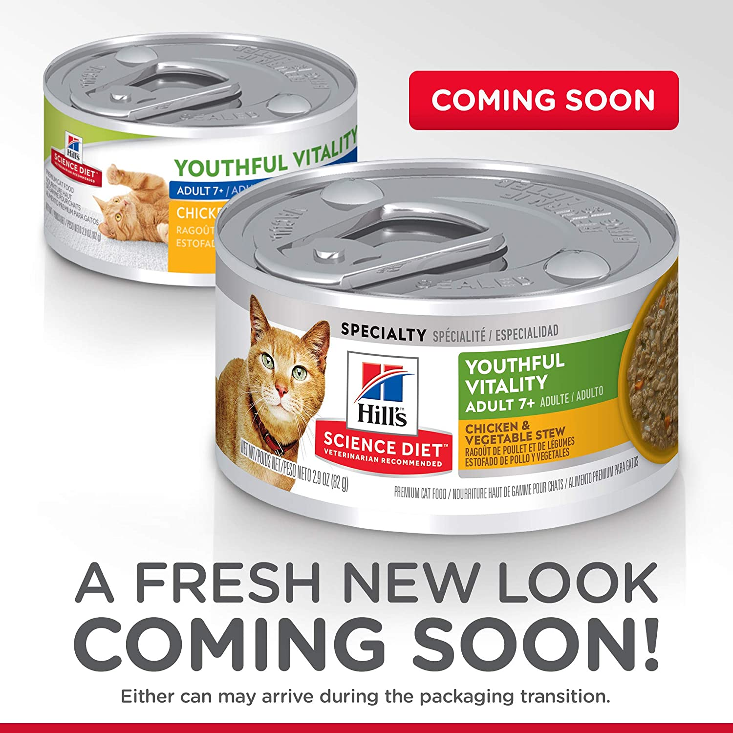 Amazon.com : Hills Science Diet Wet Cat Food, Adult 7+, Youthful Vitality, Chicken & Vegetable Stew, 2.9 oz, 24-pack : Pet Supplies