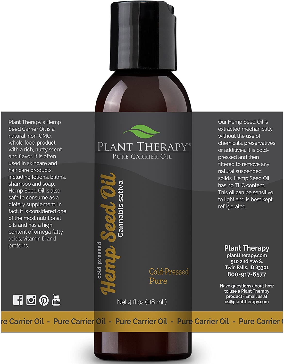 Amazon Com Plant Therapy Hemp Seed Carrier Oil 4 Oz Base Oil For Aromatherapy Essential Oil Or Massage Use Beauty