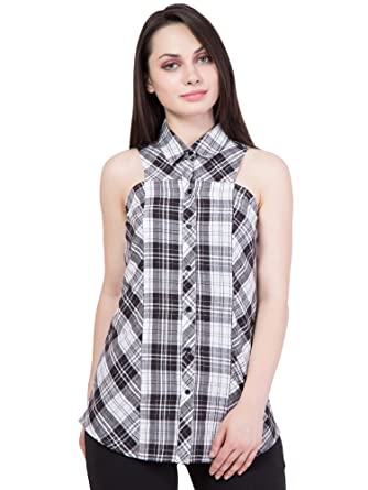 3065e1b9376f52 Hive91 White and Black Check Shirt for Women in Cotton Fabric ...