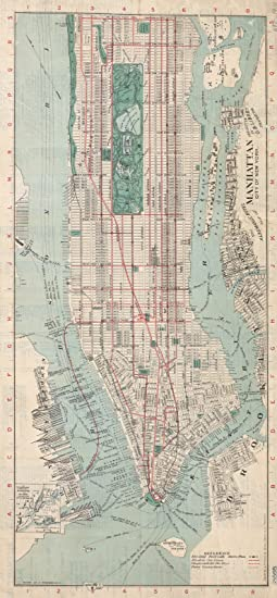 """Review Map Poster - The Albemarle Hotel map of Manhattan, New York City : with index of streets and strangers' directory to business houses, 13.5"""" x 24"""""""