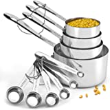 Heavy-Duty Unbreakable 18/8 Stainless Steel Measuring Cups and Spoons Set with Long Riveted Handles, Polished Stackable Measu
