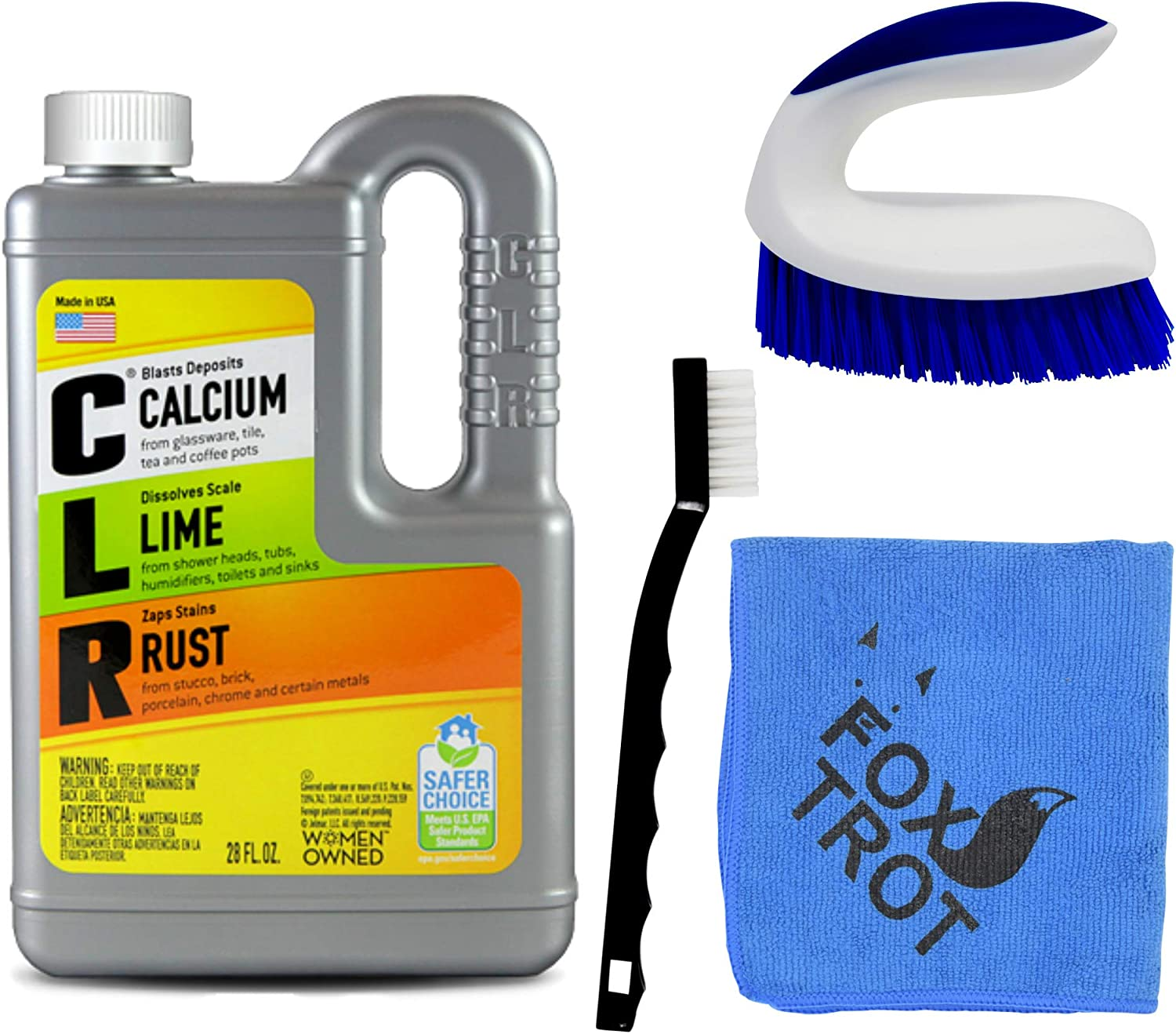 CLR Complete Cleaning Kit, Calcium Lime and Rust Removal System Includes  8oz CLR Bottle, 8 Handheld Heavy Duty Brush, 8 EZ Grip Thin Tip Vinyl  Brush,